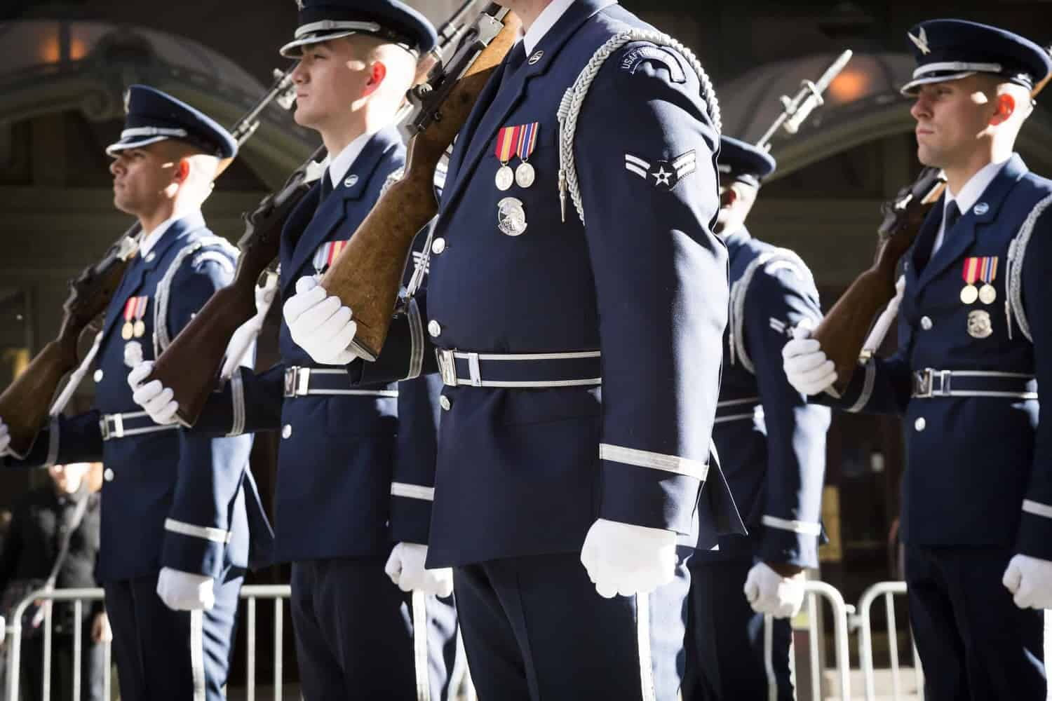 USAF personnel march in parade.