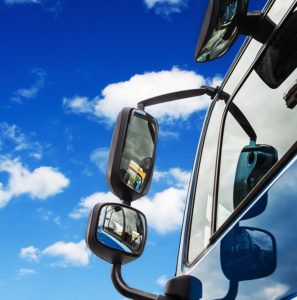 Overall Mirrors Of The Truck Against The Blue Sky