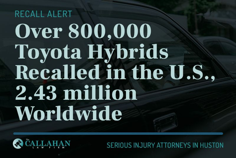 over 800,000 toyota hybrids recalled in the US, 2.43 million worldwide