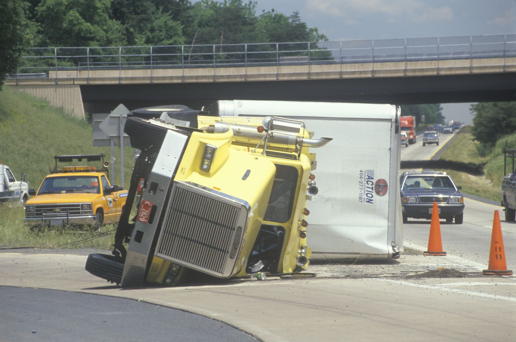 big rig and tow truck accident