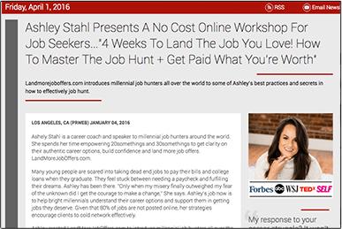 Ashley Stahl Presents A No Cost Online Workshop For Job Seekers press release