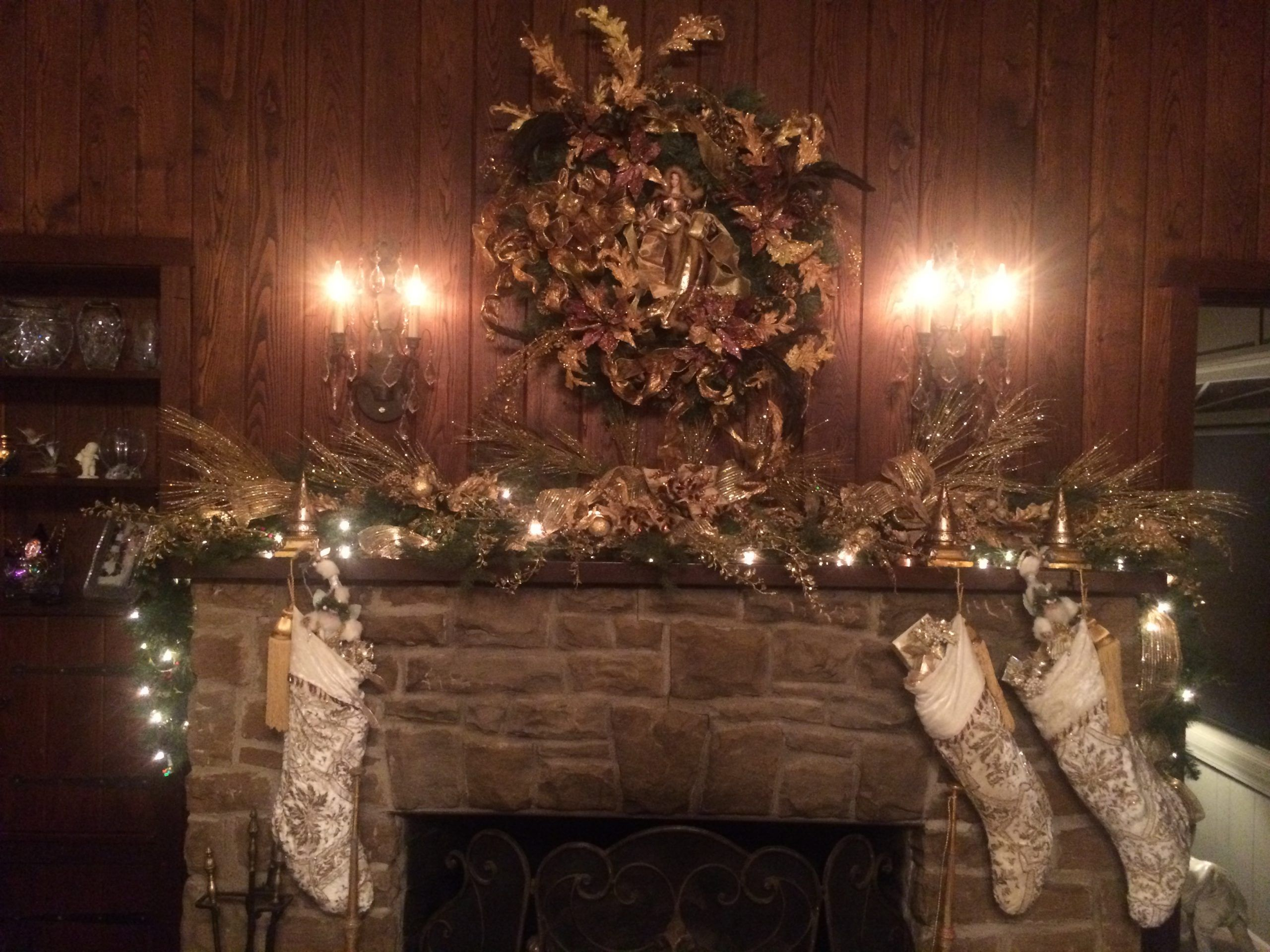 old fireplace gold decor