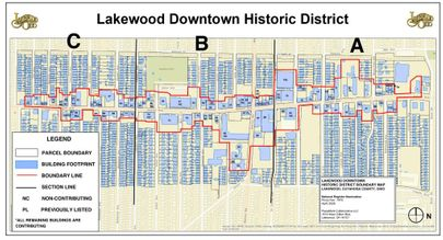 Downtown Lakewood Historic District Map