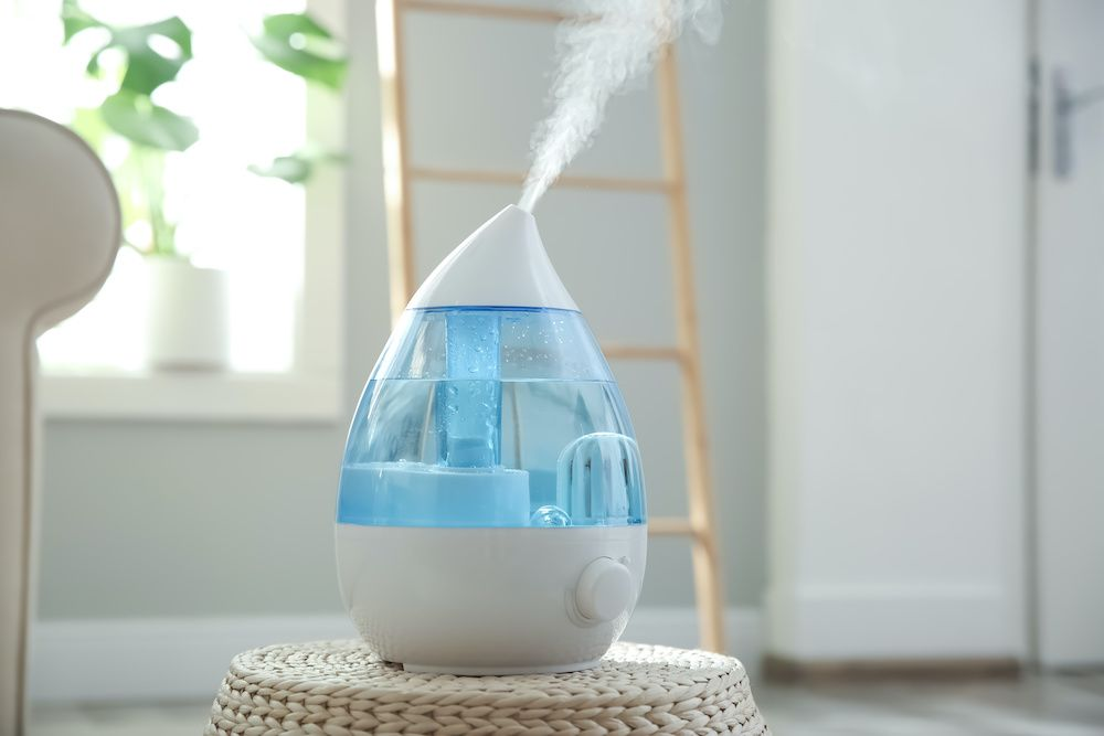 A small humidifier works to improve the home humidity for residents.
