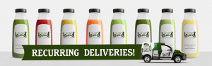 Eight juices from The Right Greens. Recurring deliveries available. 678.262.6799 TheRightGreens@gmail.com