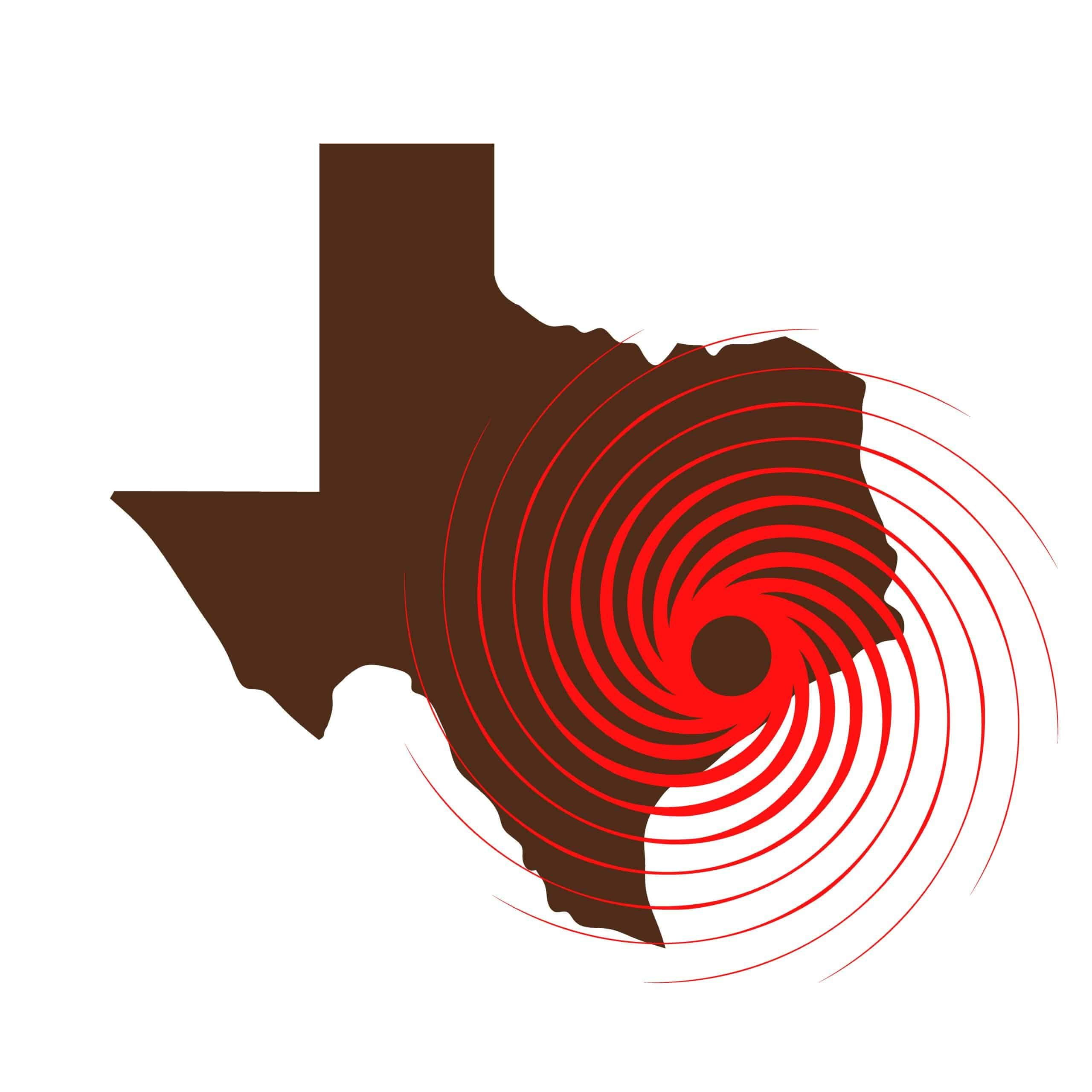 hurricane laura and security solutions - texas state outline with red hurricane shape on gulf coast