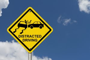 A distracted driving sign in Columbia