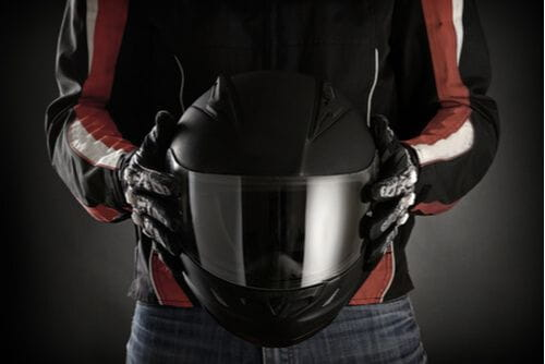 motorcyclist with helmet