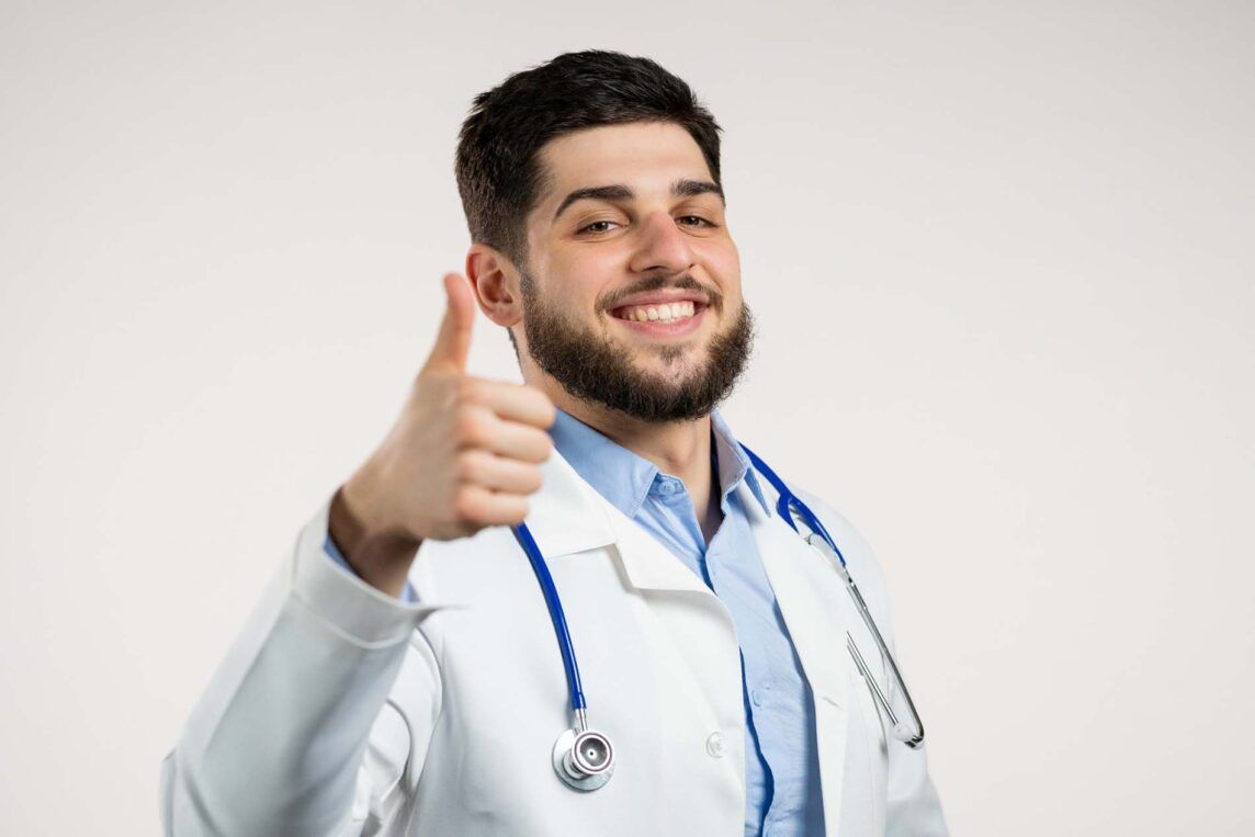 Doctor Thumbs Up To Healthy Beard.