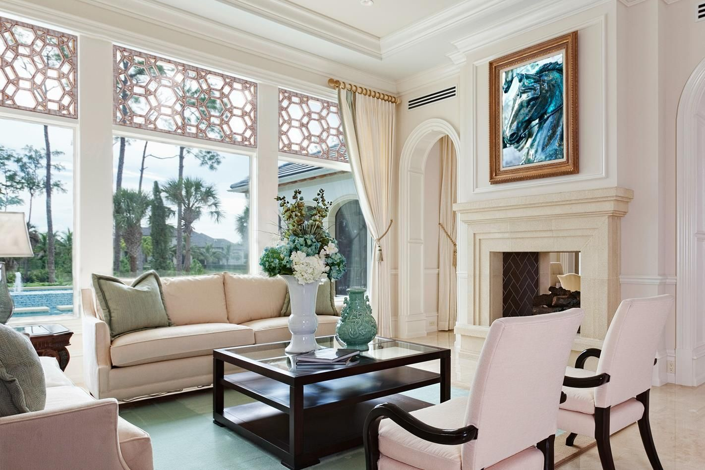 decrotative grilles above windows in living room a shade above window fashions