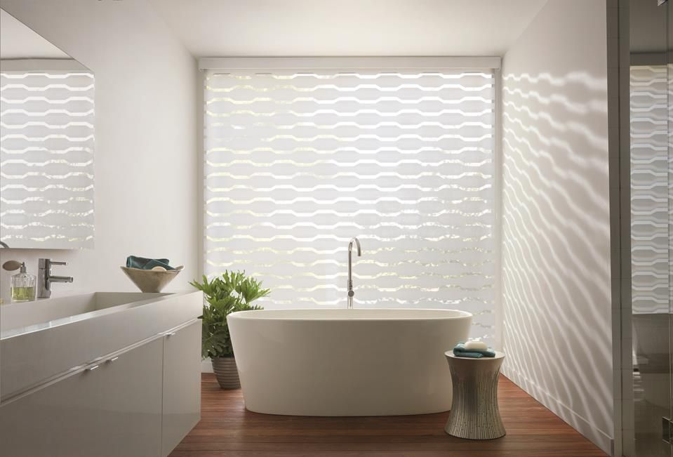 transition roller shades also known as zebra shades, in bathroom by a shade above window fashions
