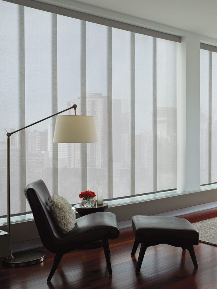 vertical panel blinds a shade above window fashions