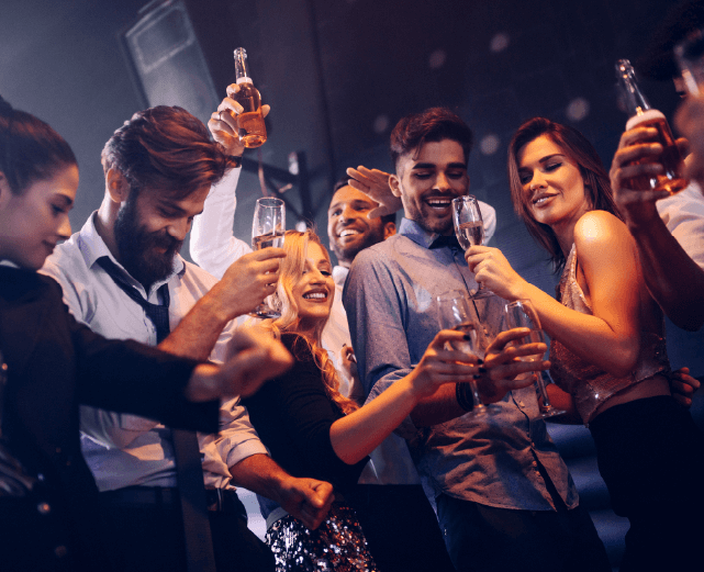 People partying with champagne
