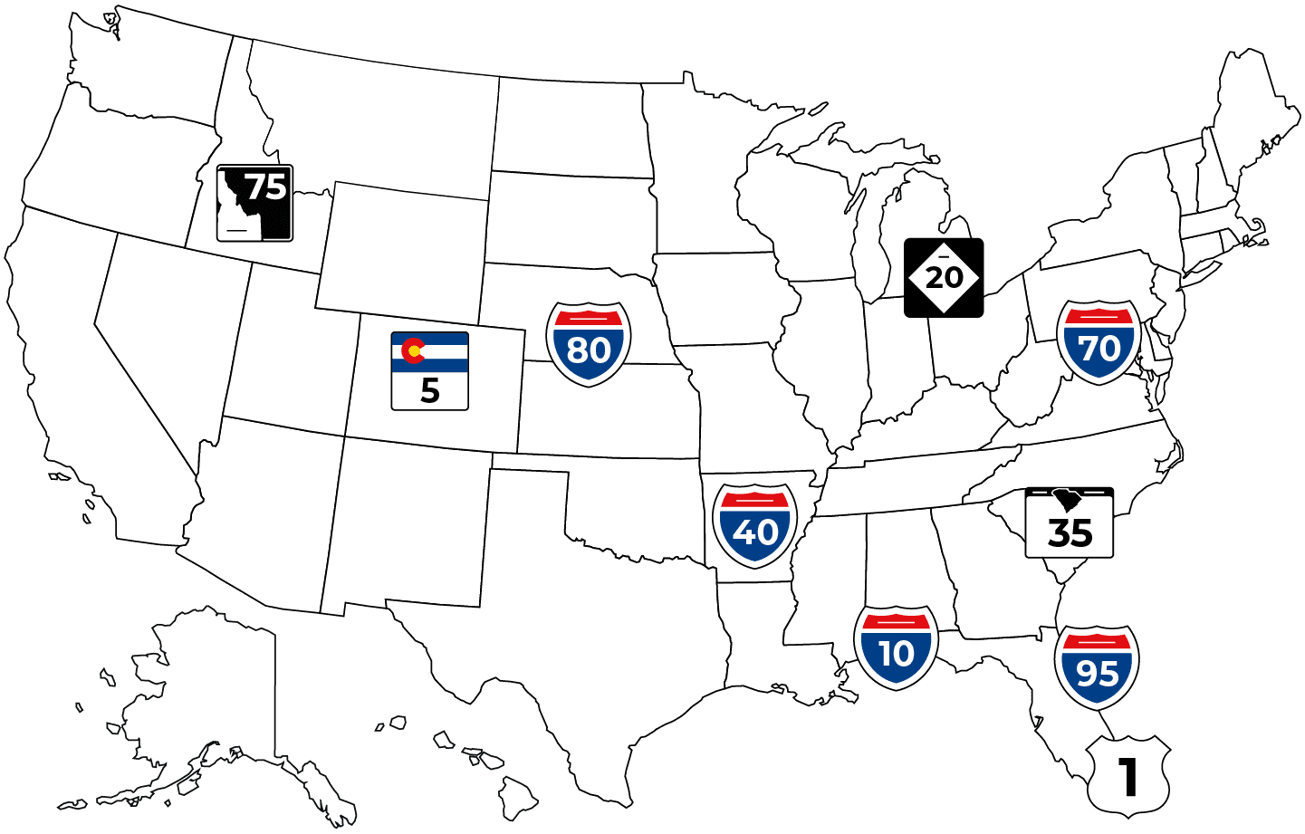 Map of the USA with most dangerous roads for truckers highlighted